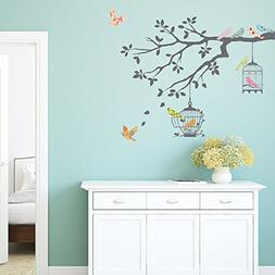 Decowall DW-1510 Birds on Tree Branch with Bird Cages Kids W