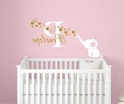 Elephant Name Wall Decal Personalized Name Sticker Baby Girl