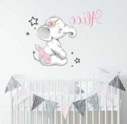 Elephant Wall Decal Nursery Ballerina Name Vinyl Sticker Bab