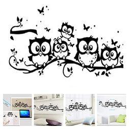 Amaonm Family Owls On The Tree Branches Wall Decal Removable