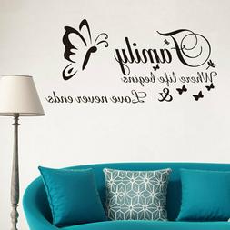 Family where life begins and love never end Vinyl wall art s