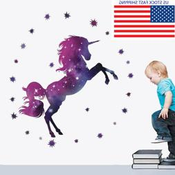 Fantasy Unicorn Wall Sticker Lovely Nursery Kids Room Wall D