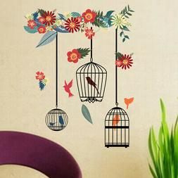 Flower Removable Bedroom Bird Cage Pattern Decorative Waterp