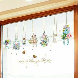Flowers Potted Plant Wall Stickers Removable Window Decorati