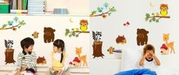 BIBITIME Forest Animal Wall Decals for Kids Rooms Pink Zebra