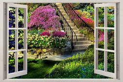 Garden View 3D Window Decal WALL STICKER Home Decor Art Mura
