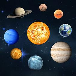 Homics 9pcs Glow in The Dark Planets Wall Decals Removable S