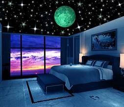 Glow in the Dark Stars w/ Bonus 20cm Full Moon Wall Decal -2