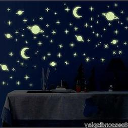 Glow In The Dark Wall Sticker Space Planets Star Moon Kids B