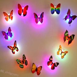Glowing 3D Butterfly LED Wall Sticker Light Art Decal Lamp H