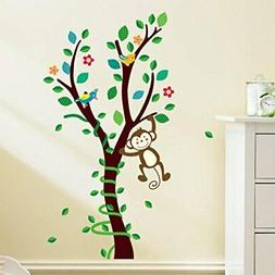 BIBITIME Green Leaves Tree Hanging Monkey Wall Decal