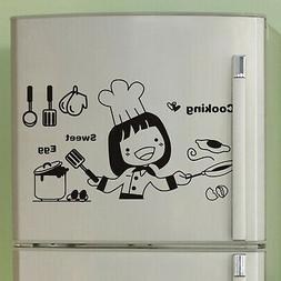 BIBITIME Happy Girl Cooking Sweet Eggs Kitchen Wall Decal Fr
