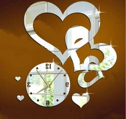 Heart to heart wall clock mirror wall decor Romantic home mi