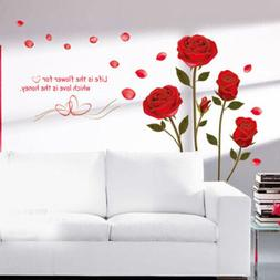 Red Rose Wall Decal Mural Removable Flowers Wall Stickers Vi