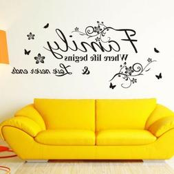 Home Wall Stickers FAMILY Letter Quote Removable Vinyl Decal