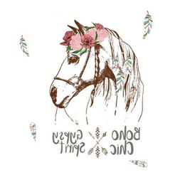 Horse Flowers Wall Stickers s for Bedroom Home Decoration Ar