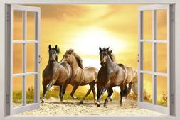 Horses Running In Sunset 3D Window View Decal WALL STICKER H