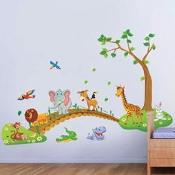 Kids Bedroom Wall Stickers Zoo Animal Jungle Tree Baby Nurse