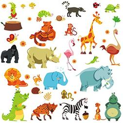 DEKOSH Jungle Animal Wall Decal Pack of Colorful Stickers fo