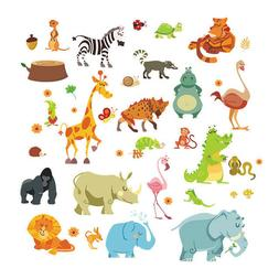 Jungle Animals Wall Stickers for Kids Rooms Safari Nursery R