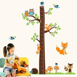 Owl Tree Wall Sticker Decor Decals Kids Height Removable Cha