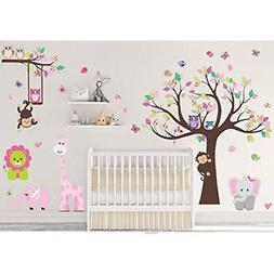 DEKOSH Kids Pink Jungle Theme Peel & Stick Girl Nursery Wall