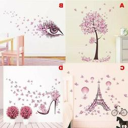 Vinyl Wall Sticker Butterfly Tree Flowers Decal Nursery Home
