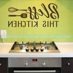 Kitchen Quote Stickers Bless This Kitchen Wall Decor Vinyl L