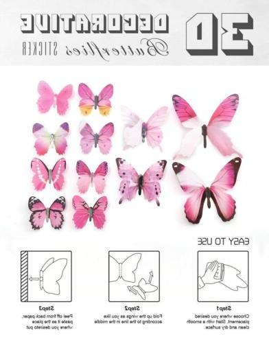 24Pcs 3D Butterfly Stickers Home Room