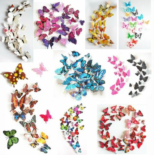 12pcs 3d butterfly wall stickers removable home
