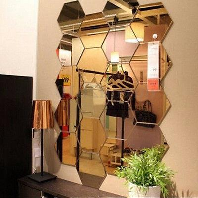 12Pcs 3D Mirror Hexagon Vinyl Removable Wall Sticker Decal H