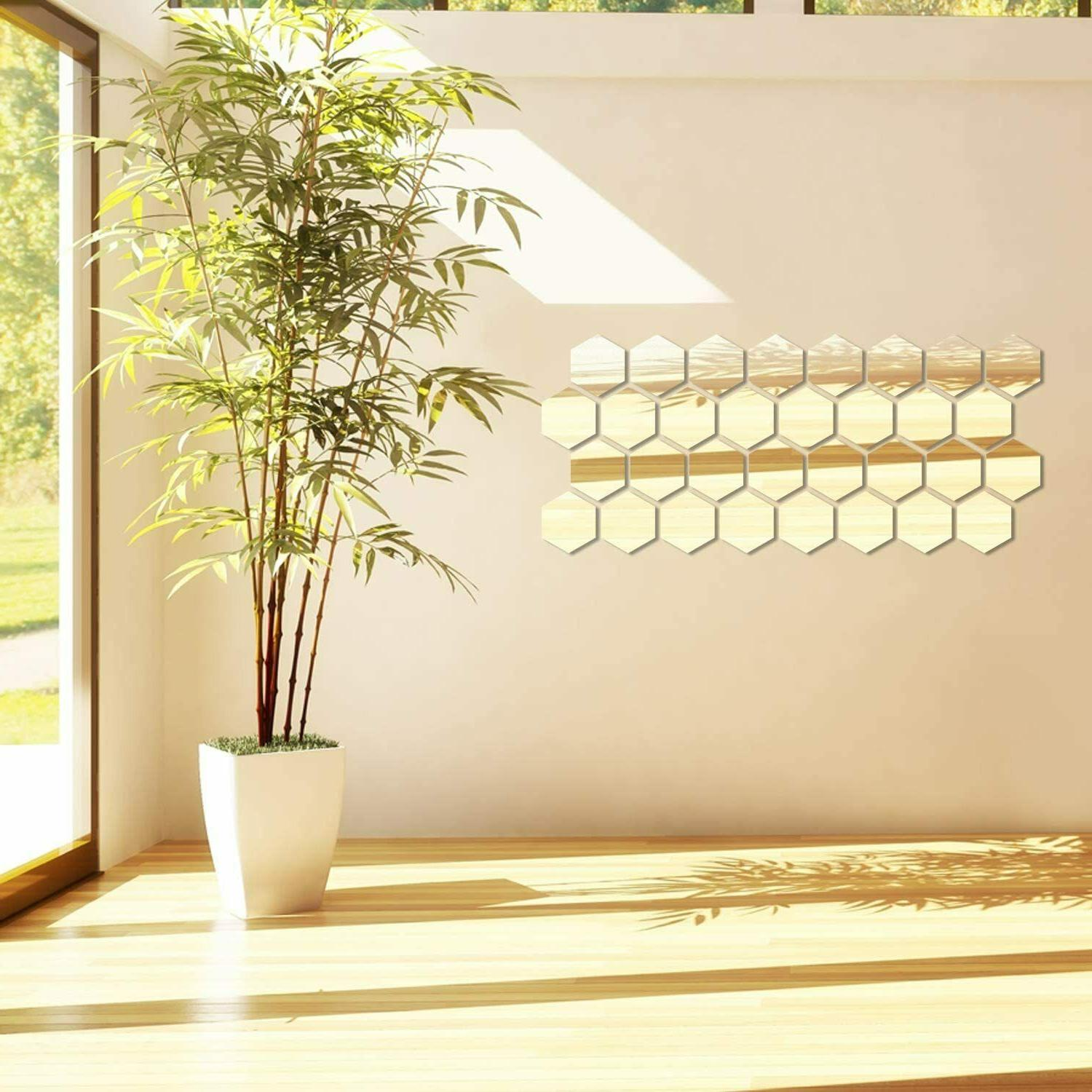 12Pcs Acrylic Mirror Wall Stickers Mural Decal Home Decor DIY
