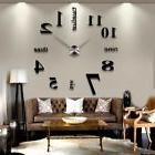 3D DIY Modern Wall Clock Art Sticker Mirror Surface Home Off
