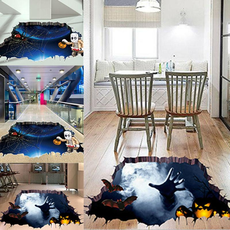 Halloween 3D Wall Floor Sticker Spider Bat Mural Art Decal H