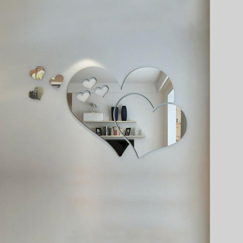 3D Mirror Love Hearts Wall Sticker Removable Decal DIY Home