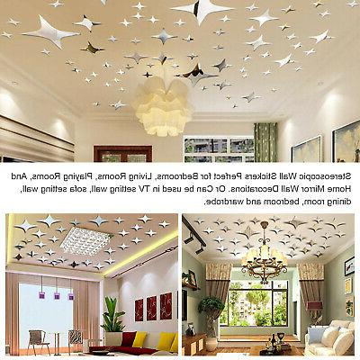 3D Mirror Star Sticker Removable Decal Stickers Home Decor