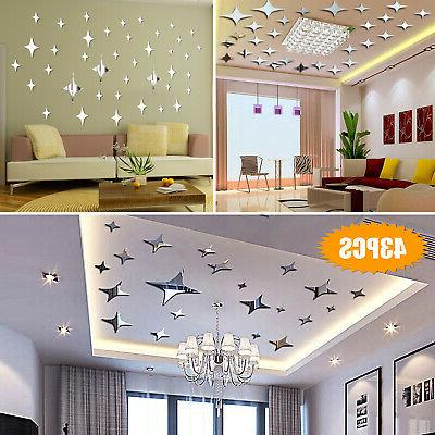 3d mirror star wall sticker removable decal
