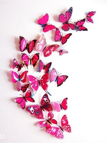 Amaonm 72 Pcs Packages Beautiful 3d Butterfly Wall Decals Removable Home Art Wall Stickers for Background Living