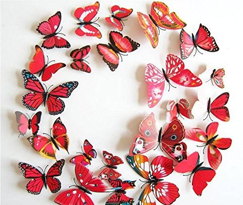 Amaonm 72 Packages Beautiful Butterfly Wall Decals Removable Home Decorations for Bedroom Background