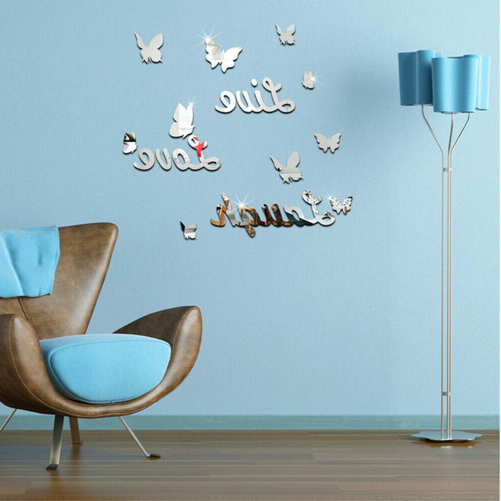 3d removable mirror wall sticker love butterfly