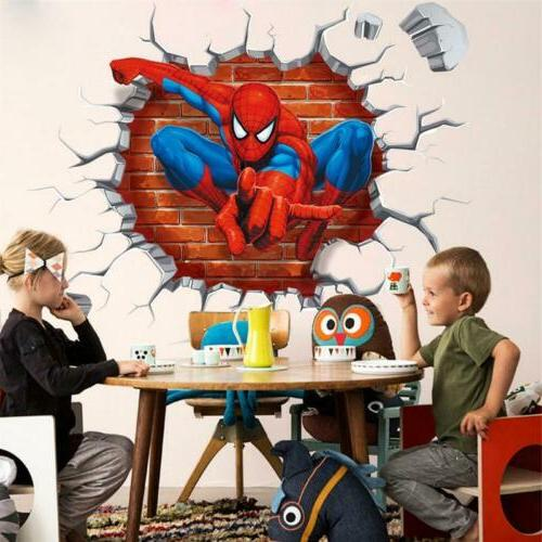 3D Spiderman Super Hero Wall Sticker Removable Mural Decal K