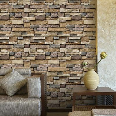 3d wall paper brick stone rustic effect