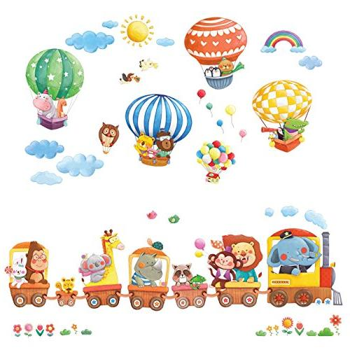Decowall DA-1406 Animal Train and Hot Air Balloons Kids Wall