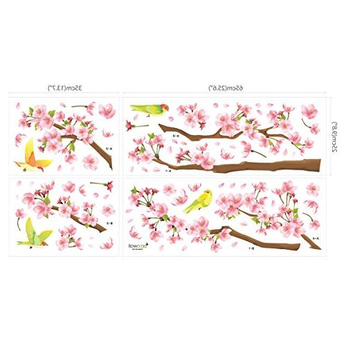 Decowall DW-1303 Cherry and Birds Wall Decals Stickers and Stick Removable Stickers for Bedroom