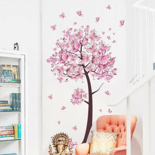 Bedroom Child Baby Girls Pink Fairy Butterfly Trees Wall Sti