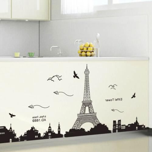 Bedroom Fashion Removable Paris Eiffel Decal Wall Mural