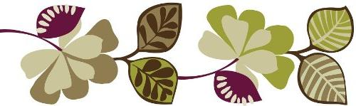 CAMEROON Wall Border Decals Purple Green Leaves Ivy Room Dec