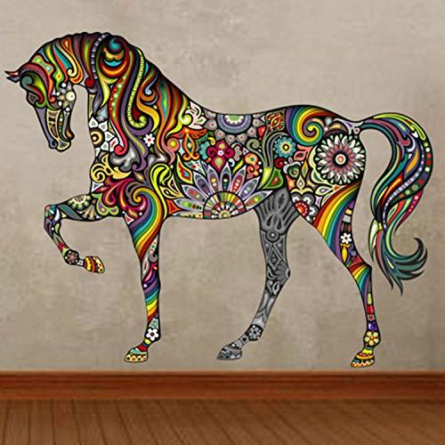 cartoon colorful horse pattern wall