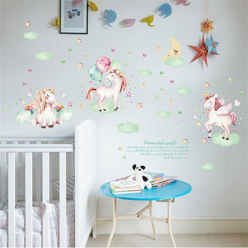 Cartoon Unicorn Wall Sticker For Kids Girls Rooms Wall Art D