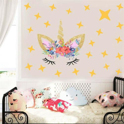 Creative Horse Stars Wall Stickers For Girls Bedroom Flowers